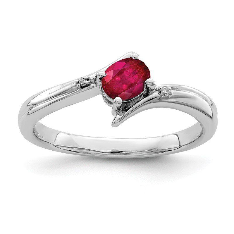 Quality Gold Sterling Silver Rhodium-plated Ruby and Diamond Ring