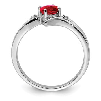 Sterling Silver Rhodium-plated Ruby and Diamond Ring