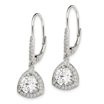 Sterling Silver Rhodium-plated Polished CZ Leverback Earrings