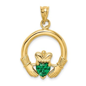 14k Claddagh with Synthetic Green Stone Pendant