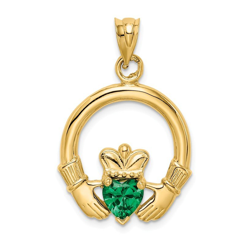 Quality Gold 14k Claddagh with Synthetic Green Stone Pendant