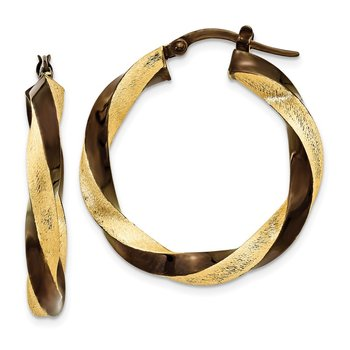 14k & Brown Rhodium 3.75mm Twisted Hoop Earrings