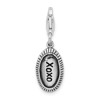 Sterling Silver Amore La Vita Rhodium-pl Antiqued Polished XOXO Charm