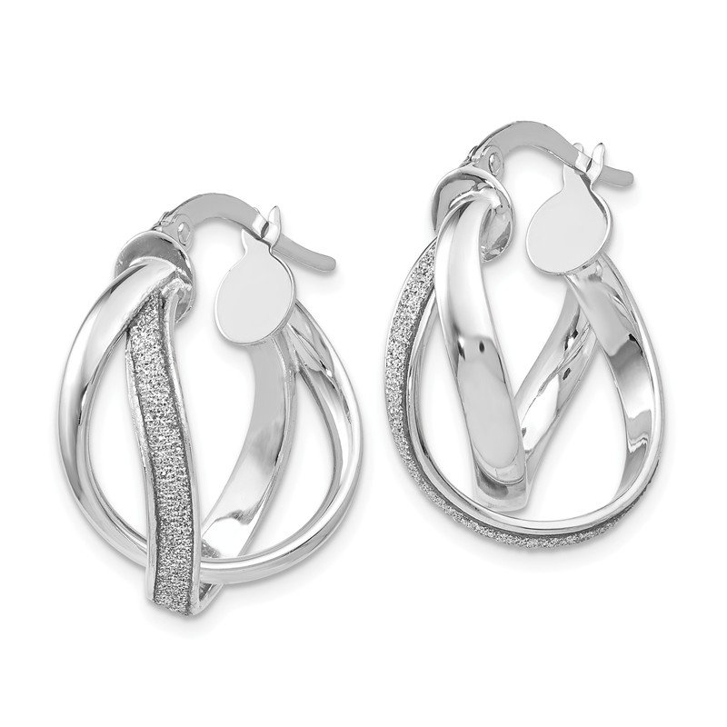 Leslie's Leslie's 14K White Gold Glimmer Infused Polished Twisted Hoop Earrings