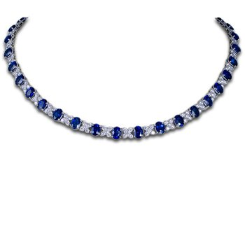 """XO"" Sapphire and Diamond Necklace"