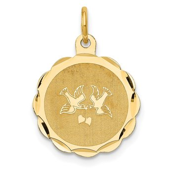 14k Love Birds Disc Charm