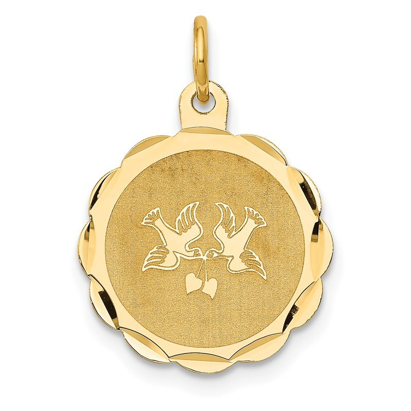 Quality Gold 14k Love Birds Disc Charm