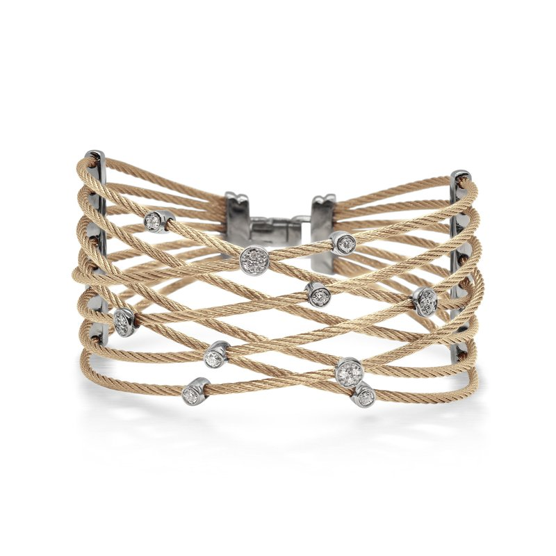ALOR Carnation Cable Constellation Bracelet with 18kt White Gold & Diamonds