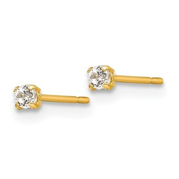 14k Madi K 2mm Round CZ Basket Set Stud Earrings