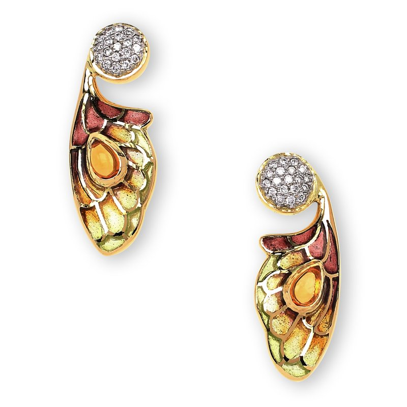 Nicole Barr Designs Yellow Bee Stud Earrings.18K -Diamonds and Citrine - Plique-a-Jour