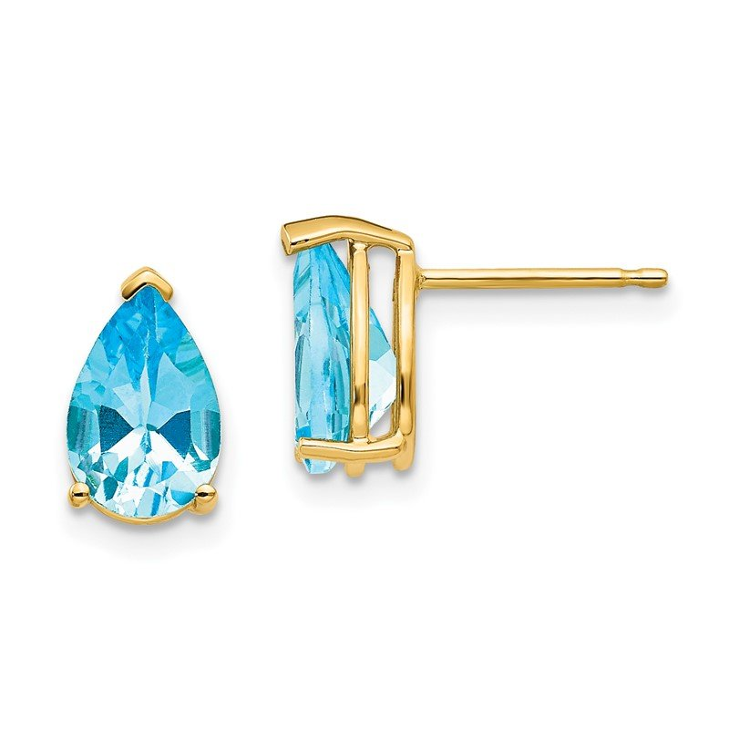 Quality Gold 14k 9x6mm Pear Blue Topaz Earrings