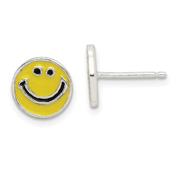 Sterling Silver Enameled Happy Face Post Earrings