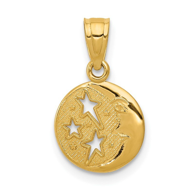Quality Gold 14k Moon and Stars Pendant