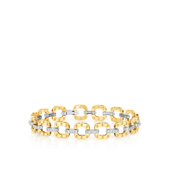 18KT GOLD PETITE LINK BRACELET WITH DIAMONDS