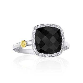 Cushion Gem Ring with Black Onyx