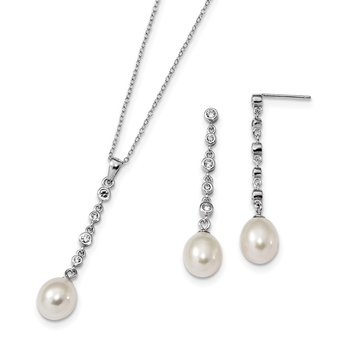 Sterling Silver RH 8-9mm White FWC Pearl CZ Earring Necklace Set