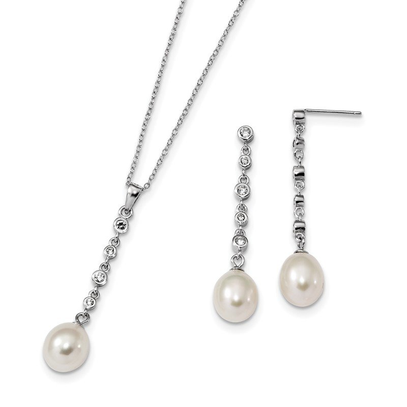 Quality Gold Sterling Silver RH 8-9mm White FWC Pearl CZ Earring Necklace Set