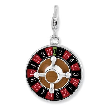 Sterling Silver Enameled 3-D Roulette Wheel w/Lobster Clasp Charm