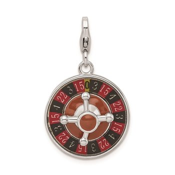 SS RH Enameled 3-D Roulette Wheel w/Lobster Clasp Charm