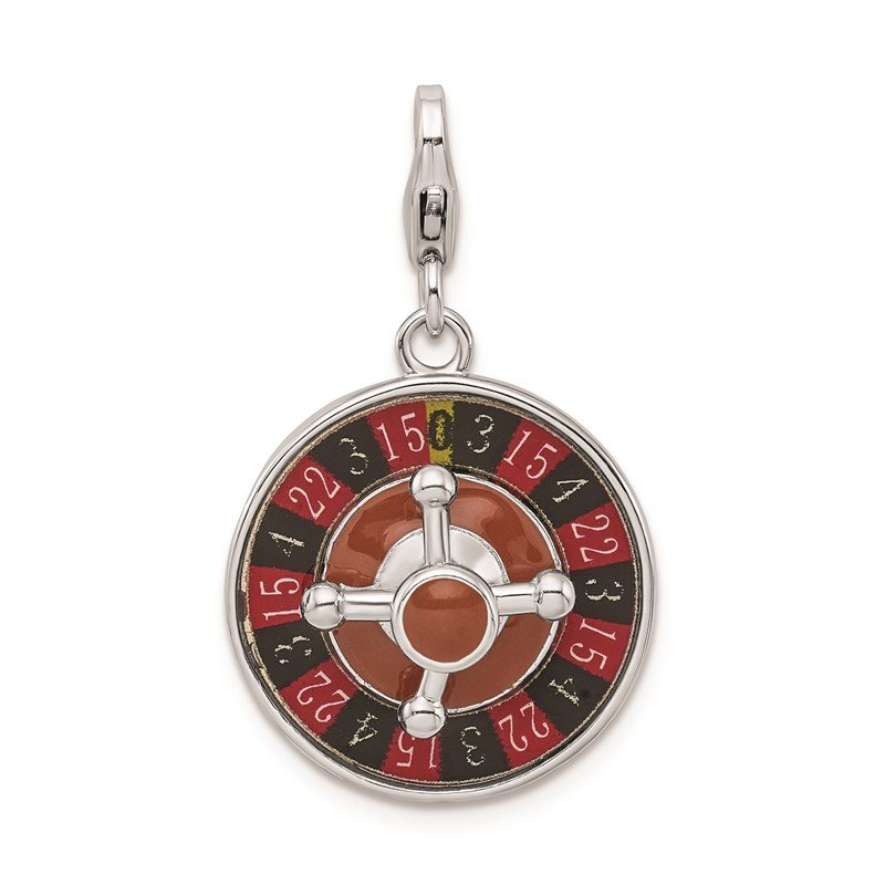 Quality Gold SS RH Enameled 3-D Roulette Wheel w/Lobster Clasp Charm