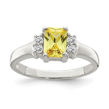 Sterling Silver Yellow & White CZ Ring
