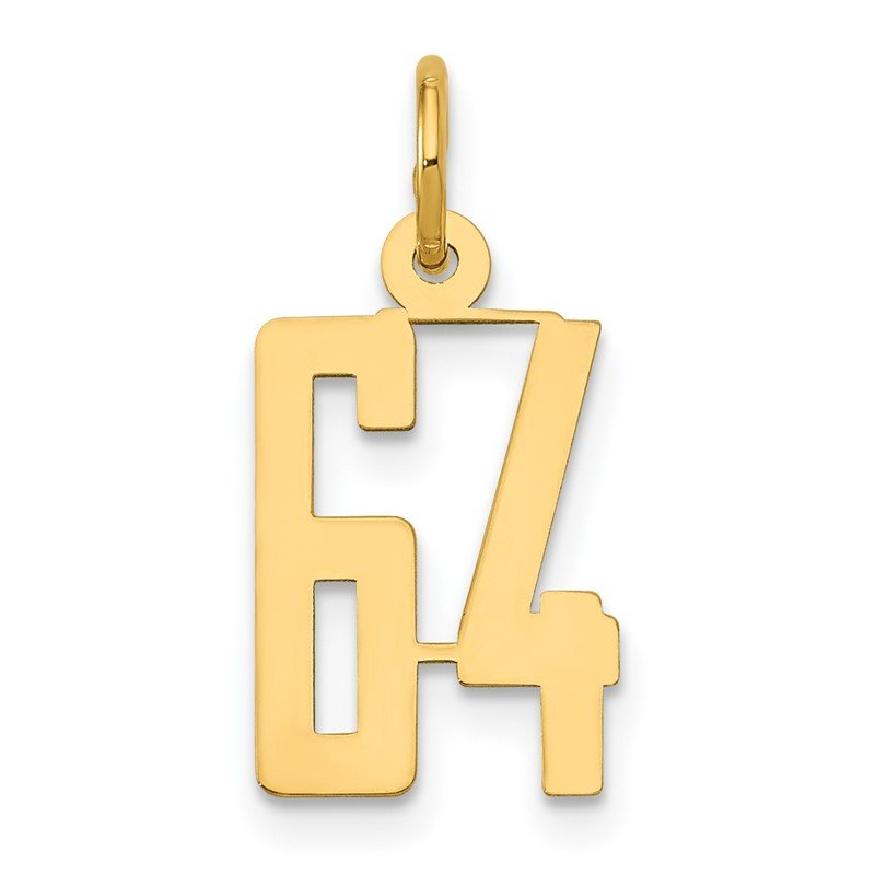 Quality Gold 14k Small Polished Elongated 64 Charm