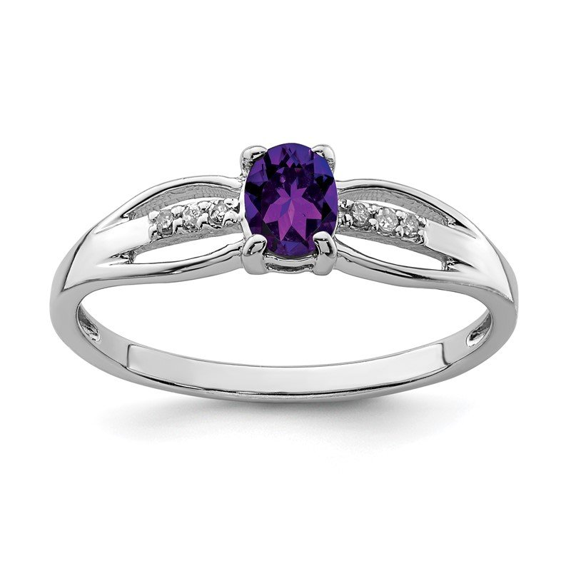Quality Gold Sterling Silver Rhod-plated Diamond Amethyst Ring