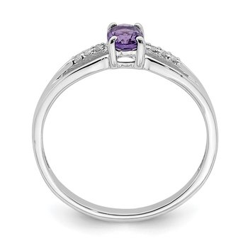 Sterling Silver Rhod-plated Diamond Amethyst Ring