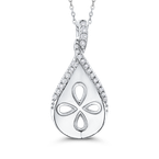 Essentials 10K White Gold .13 Ct Diamond Fashion Pendant with Chain