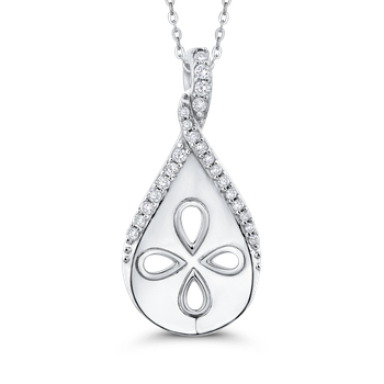 10K White Gold .13 Ct Diamond Fashion Pendant with Chain