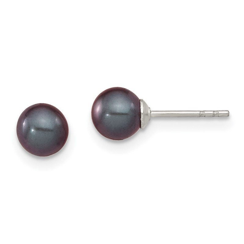 Quality Gold Sterling Silver Rh-plated 5-6mm Black FW Cultured Round Pearl Stud Earrings