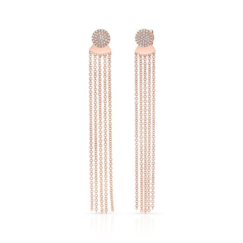 Rose Gold Disc Earrings With Dangling Tassel Backing