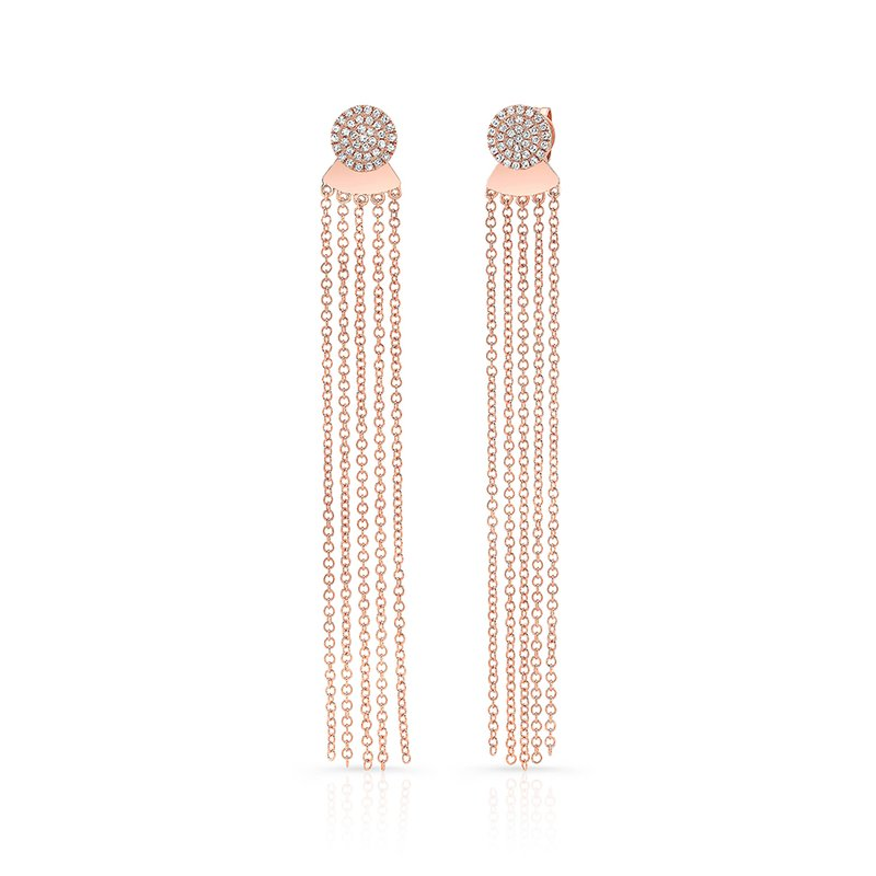 Robert Palma Designs Rose Gold Disc Earrings With Dangling Tassel Backing