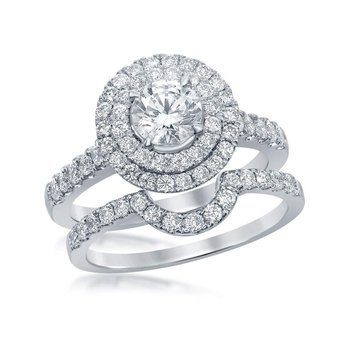 14k White Gold Womens Round Diamond Double Halo Bridal Wedding Engagement Ring Set 1-3/4 Cttw