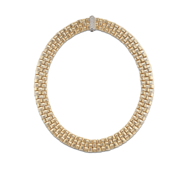 Roberto Coin  #26675 Of 18Kt Gold 3 Row Necklace With Diamond Clasp