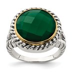 Quality Gold Sterling Silver w/14k Round Green Onyx Ring