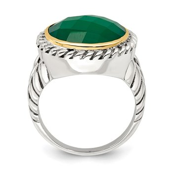 Sterling Silver w/14k Round Green Onyx Ring