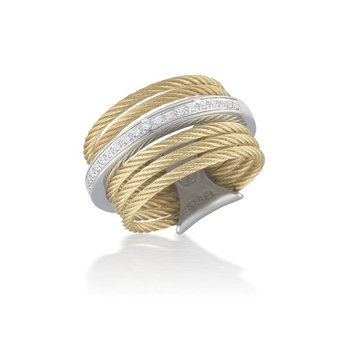 Yellow 7 Row Cable Ring with 18kt White Gold & Diamonds