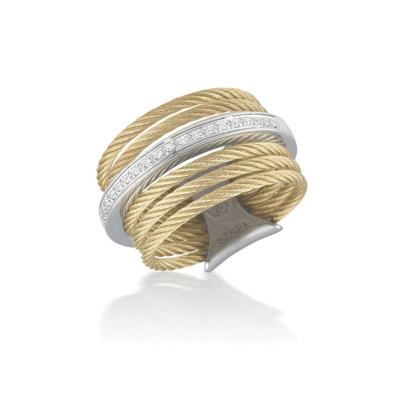 ALOR Yellow 7 Row Cable Ring with 18kt White Gold & Diamonds