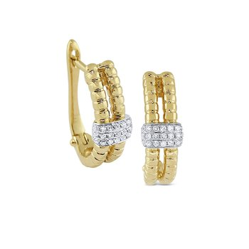 14K Gold and Diamond Textured Earrings