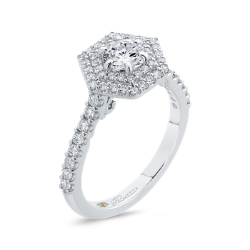 14K White Gold Round Diamond Hexagon Shape Double Halo Engagement Ring