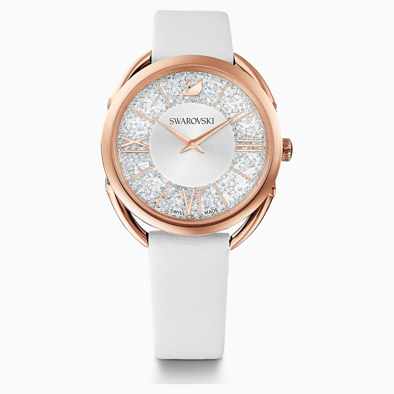 Crystalline Glam Watch, Leather Strap, White, Rose-gold tone PVD
