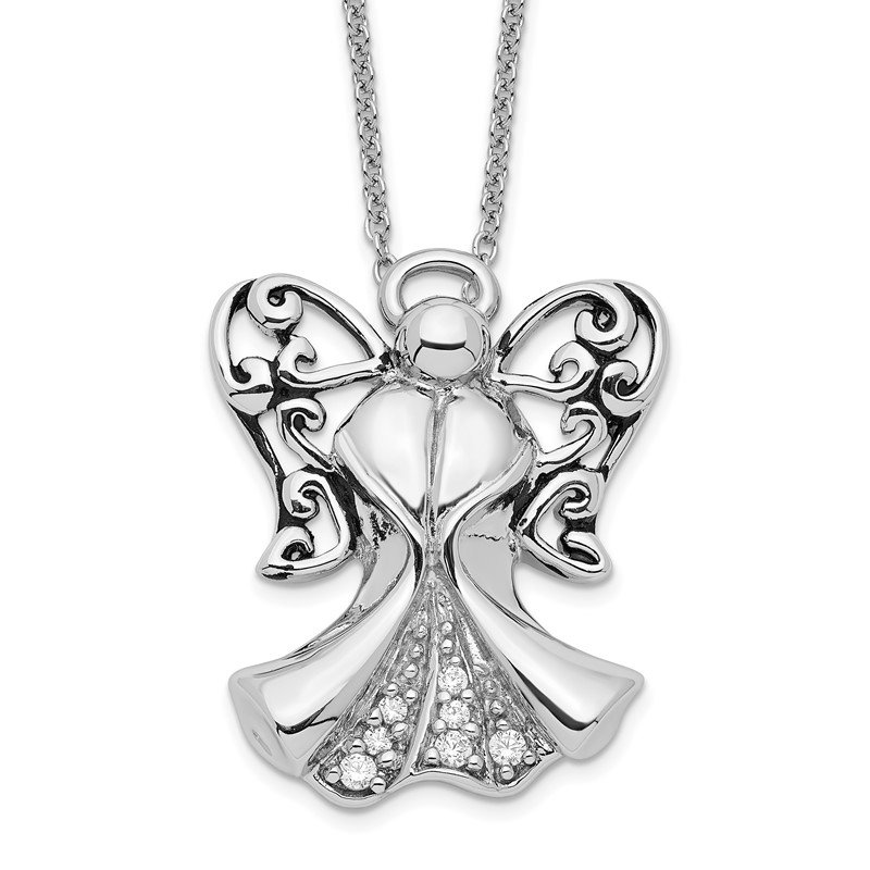 Quality Gold Sterling Silver CZ Antiqued Angel of Strength 18in Necklace