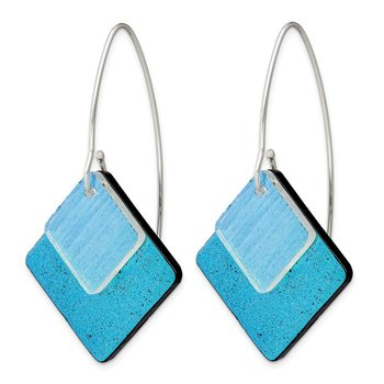 Sterling Silver Blue Dichroic Glass Diamond Shaped Dangle Earrings