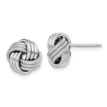 Sterling Silver Rhodium-plated Textured Love Knot Post Earrings