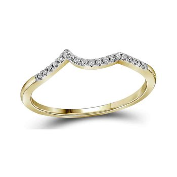 14kt Yellow Gold Womens Round Diamond Contoured Enhancer Wedding Band 1/12 Cttw