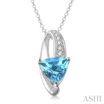 TRILLION SHAPE SILVER GEMSTONE & DIAMOND PENDANT