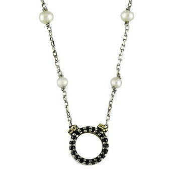 18kt and Sterling Silver White Pearl and Black Diamond Circle Necklace