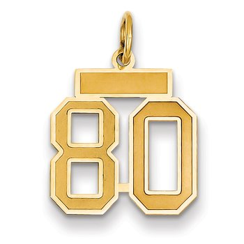 14k Small Satin Number 80 Charm
