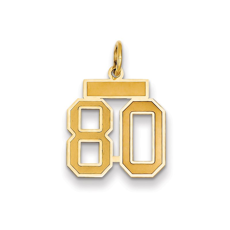 Quality Gold 14k Small Satin Number 80 Charm